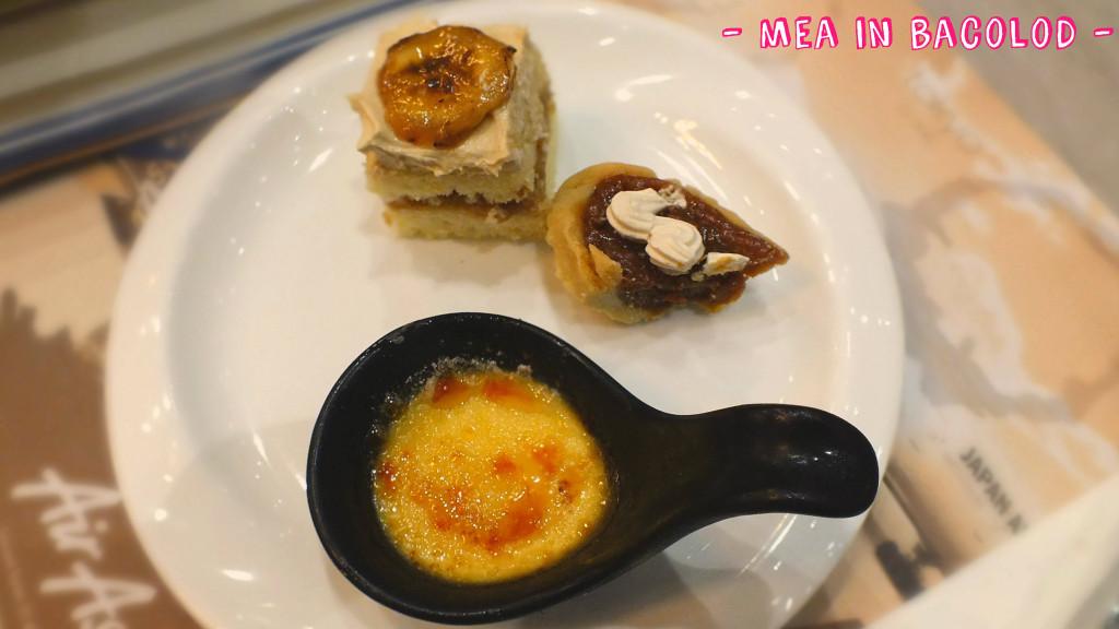 Banana cake rating: 8 Bong-bong's tart rating: 7 Creme brulee rating: 9