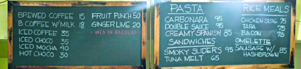 Ginger Lime Bacolod Menu Board