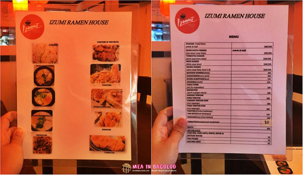 Izumi Ramen House Menu | Mea in Bacolod